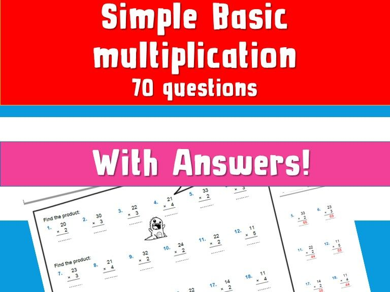 Free Basic Times Table Multiplication Column Multiplication With Answers NinaLaZina