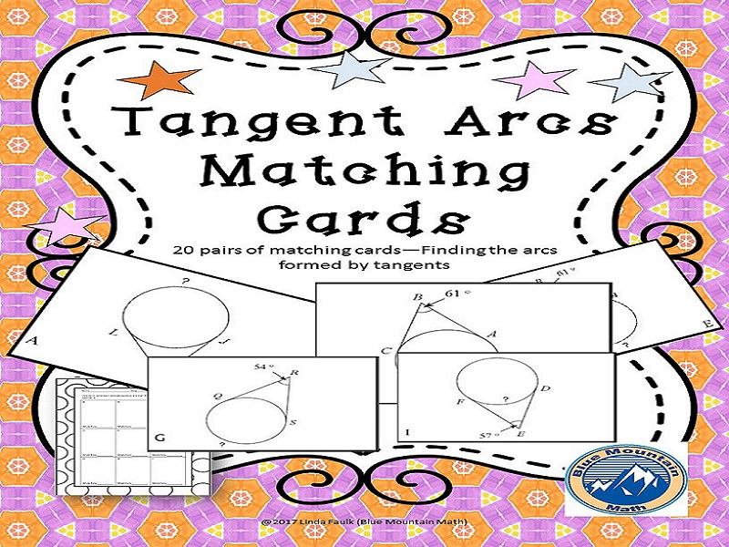 Arcs of Tangents Matching Card Set