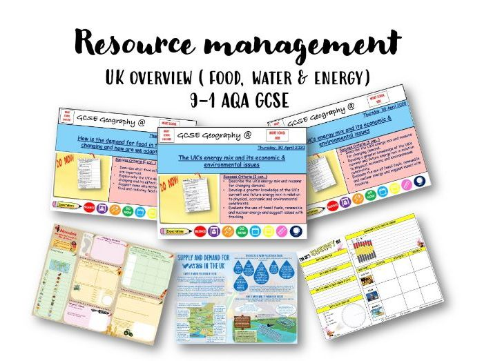 Resource management UK overview, 9-1, AQA Geography