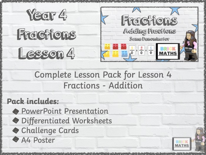 Y4 Fractions Lesson 4 - Addition - Year 4