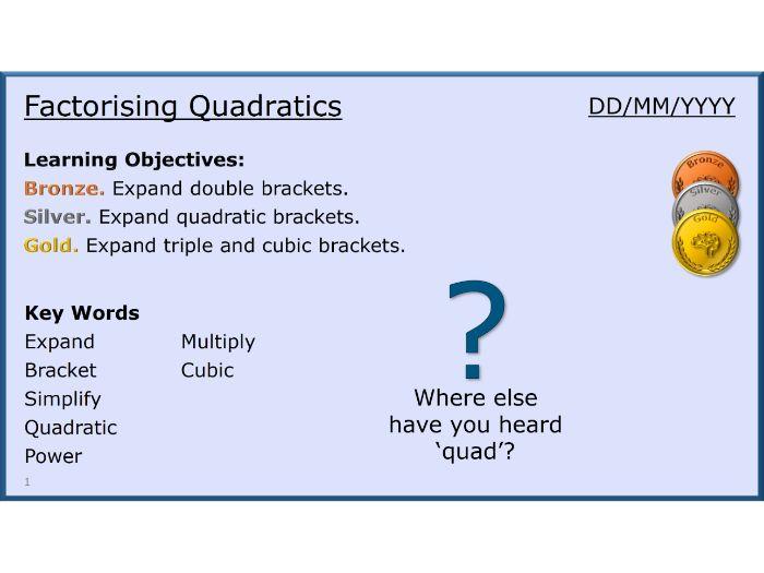 Algebra 21/31 Factorising Quadratics