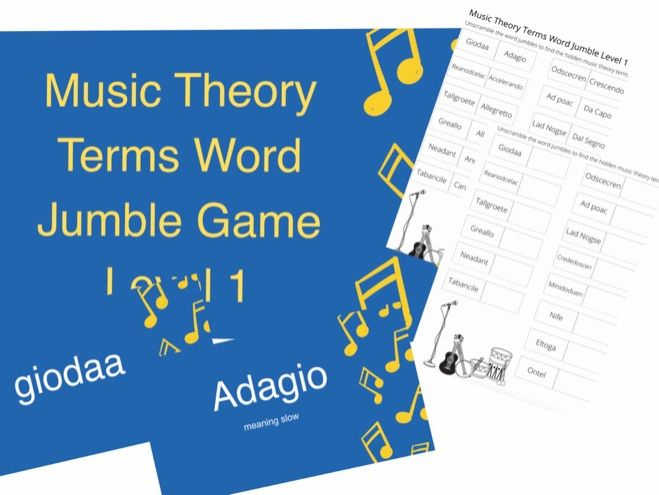 Music Theory Word jumble PowerPoint game and pdf sheet grade 1 music notes motif,