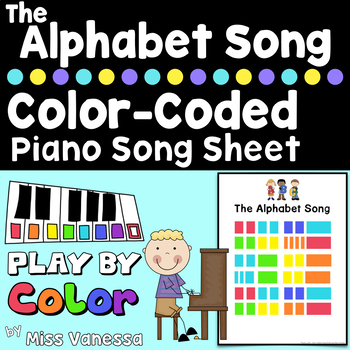 The Alphabet Song Color-Coded Piano Song Sheet, Kids Can Play Music by Color!