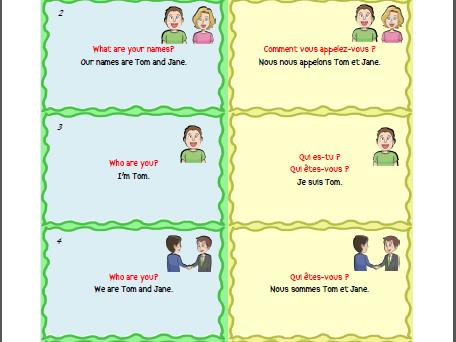 Free Bilingual English - French Basic Sentences and Vocabulary Flashcards