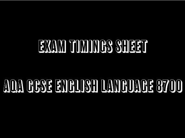 AQA 8700 GCSE English Language Exam Timings Sheet
