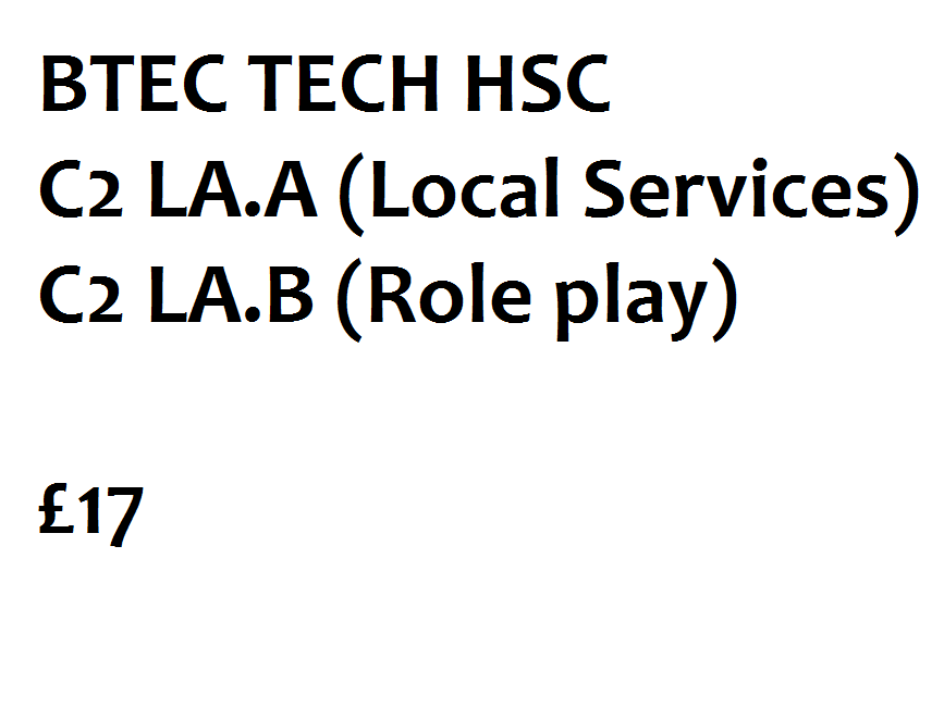 L2 BTEC Tech Health & Social Care - C2 - Local Services and Role Play