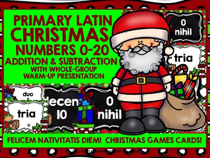 PRIMARY LATIN CHRISTMAS NUMBERS 0-20 CALCULATION CARDS