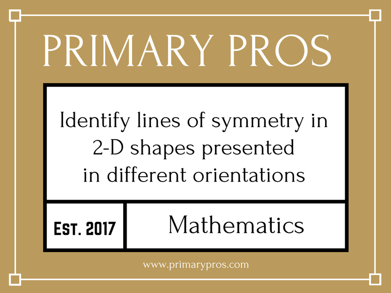 Identify lines of symmetry in 2-D shapes presented in different orientations