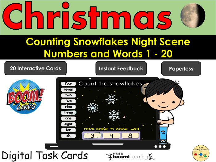 Counting to 20 Numbers Words Snowflakes Winter BOOM Cards Distance Learning