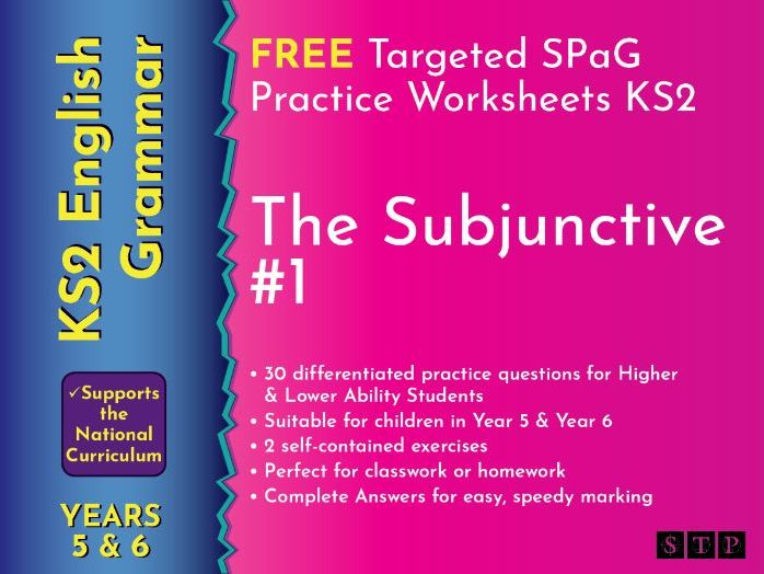 Subjunctive Form English Worksheets Year 5 Year 6 KS2
