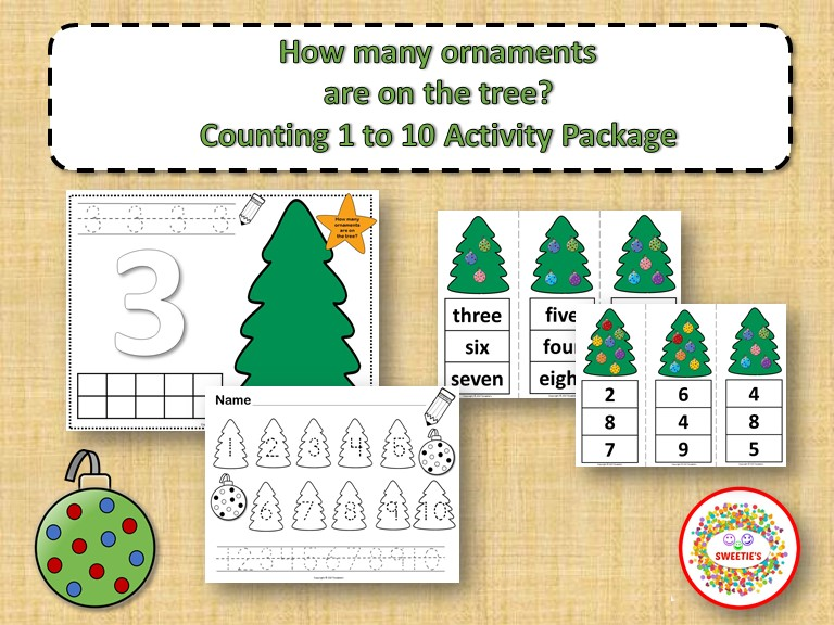 Count 1 to 10 - How Many Christmas Tree Ornaments Activity