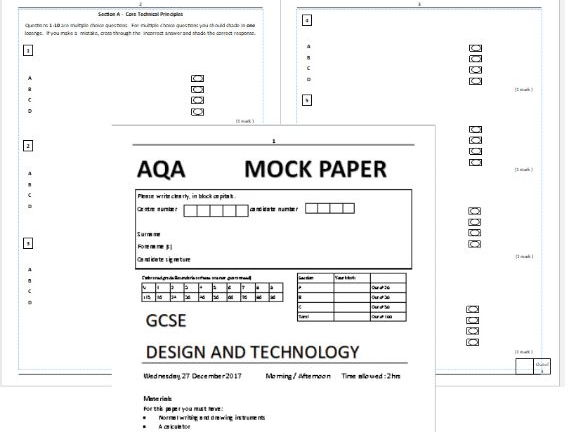 TEMPLATE - adaptable Mock paper GCSE DT