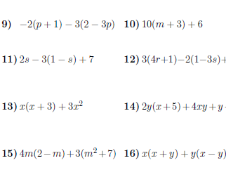 Expanding brackets and collecting like terms worksheet (with solutions)