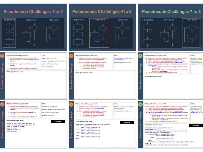 Pseudocode algorithms workbook - 12 guided and scaffolded pseudocode writing questions