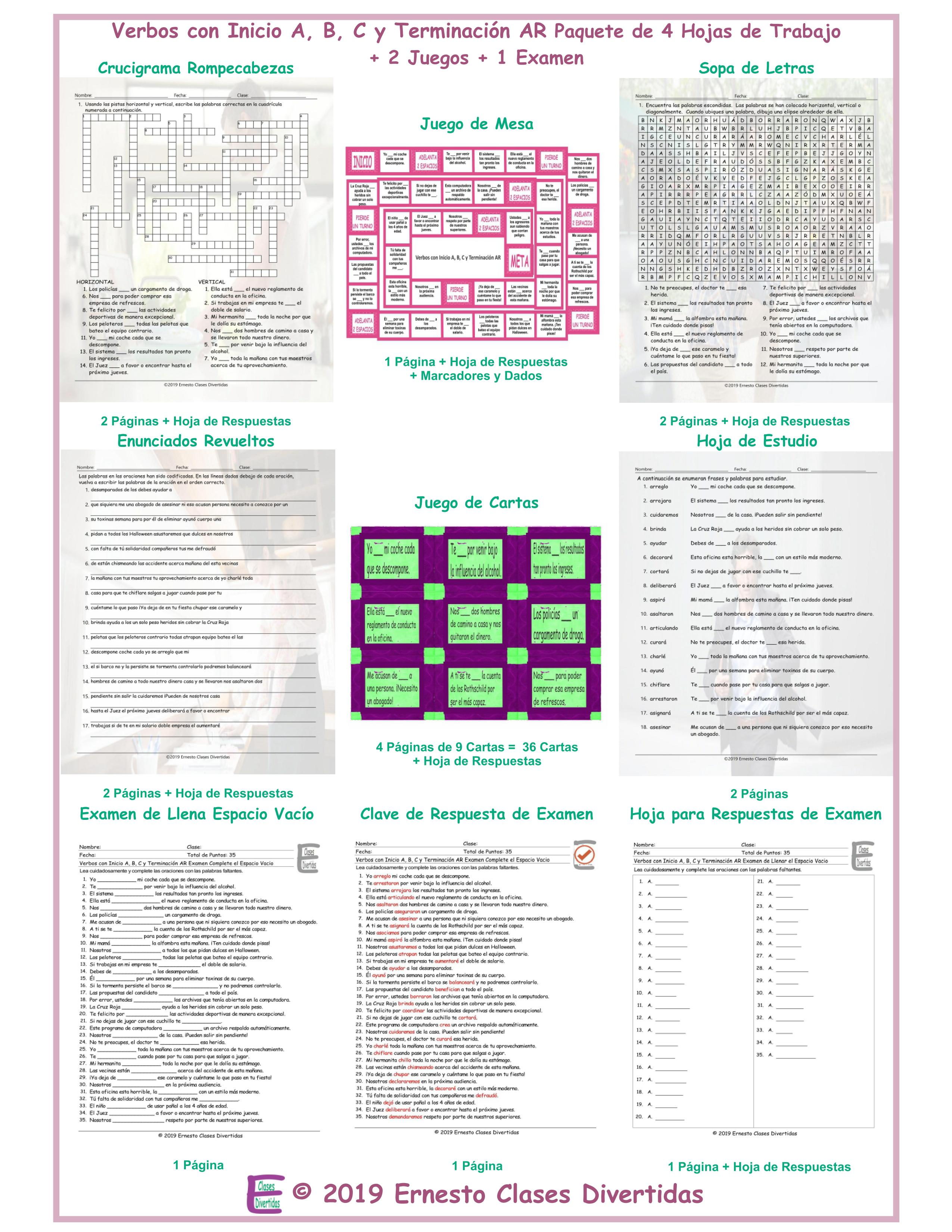 Verbs Start A, B, C, D End AR Spanish 4 Worksheet-2 Game-1 Exam Bundle