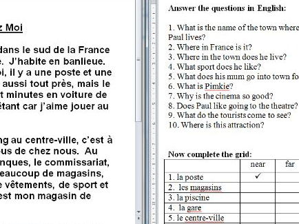 Differentiated French reading task about local area