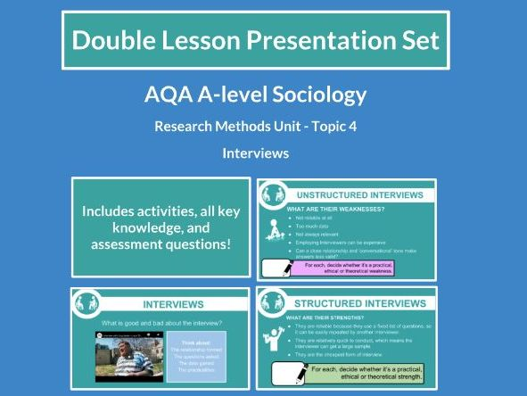 Interviews - AQA A-level Sociology - Research Methods - Topic 4