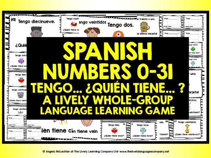 SPANISH NUMBERS 0-31 I HAVE WHO HAS?