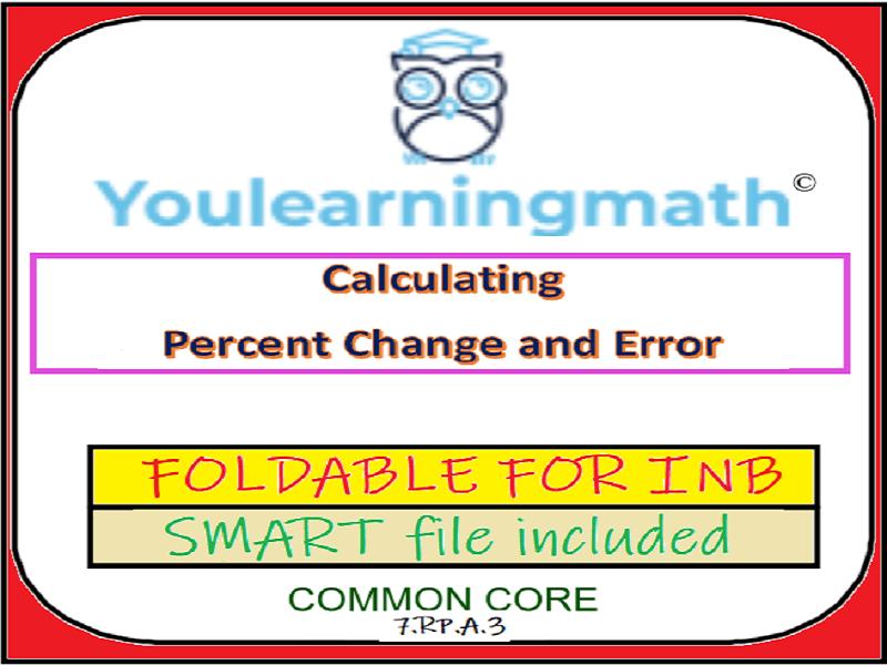 Percent Change and Percent Error FOLDABLE for INB + SMART File