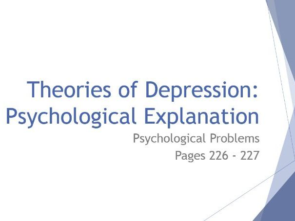 AQA GCSE Psychology - Lesson 5 - Psychological Problems - Psychological Theories of Depression