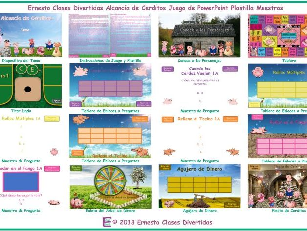 Piggy Bank Spanish PowerPoint Game Template FREE READ ONLY SHOW-An Original by ESL Fun Games