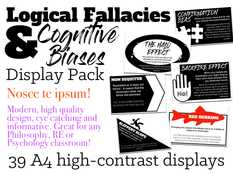 Logical Fallacies and Cognitive Biases Display Pack (Philosophy/Psychology)