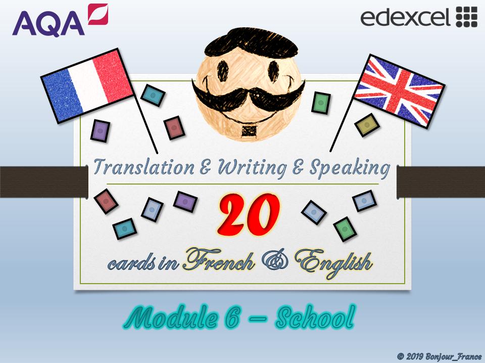 GCSE French - Q&A / Translation Card Set (Module 6: School)