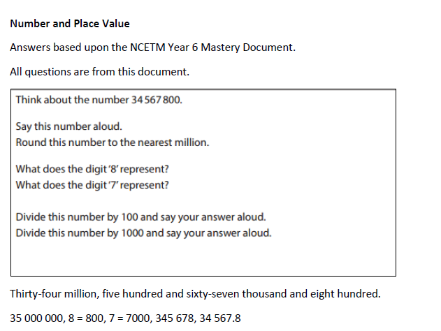 NCETM Year 6 Number and Place Value Mastery ANSWERS