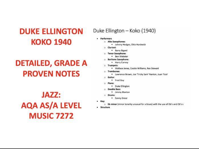 Duke Ellington - Koko AS A LEVEL 7272 AQA MUSIC NOTES