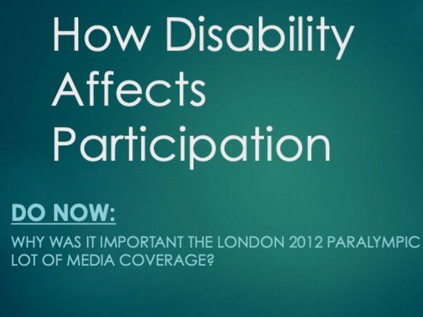 GCSE PE: Socio-Cultural Influences, How Disability Affects Participation (Component 2)