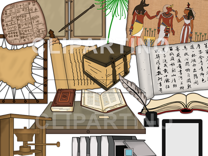 Book clip art-The history of books clip art