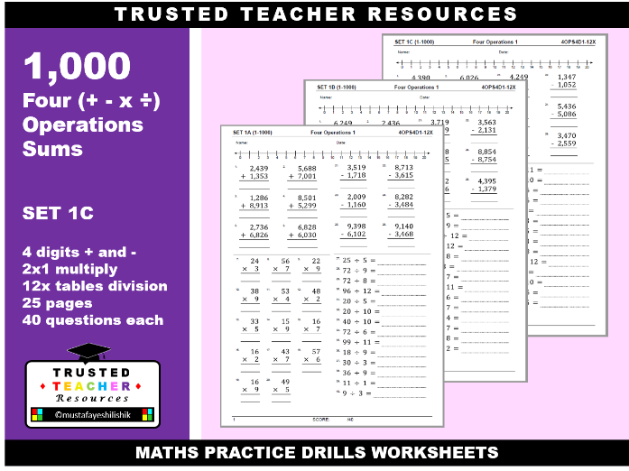1000 Four Operations Sums - 4 Digit Sums & 1-12x Tables (Set 1C)