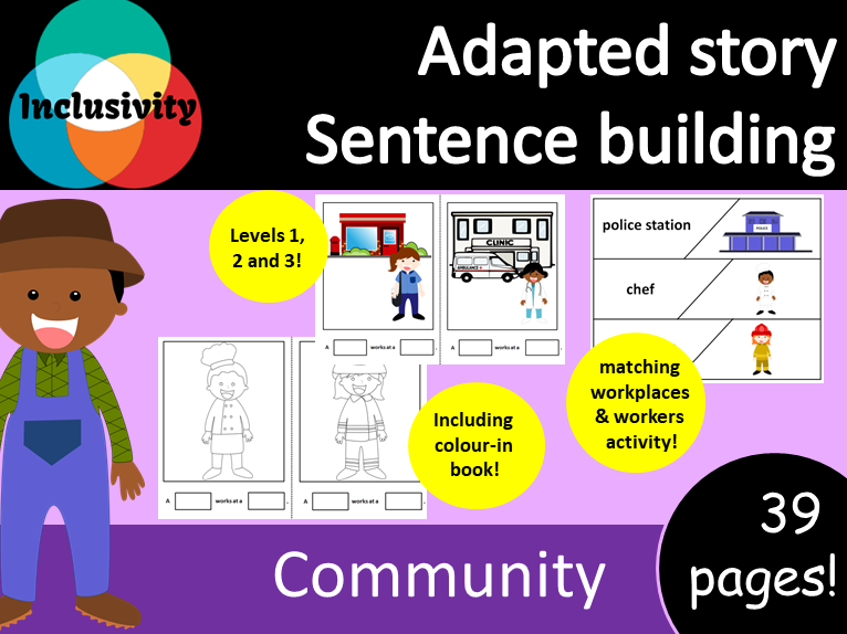 Adapted book sentence building - people in our community; Levels 1, 2 and 3
