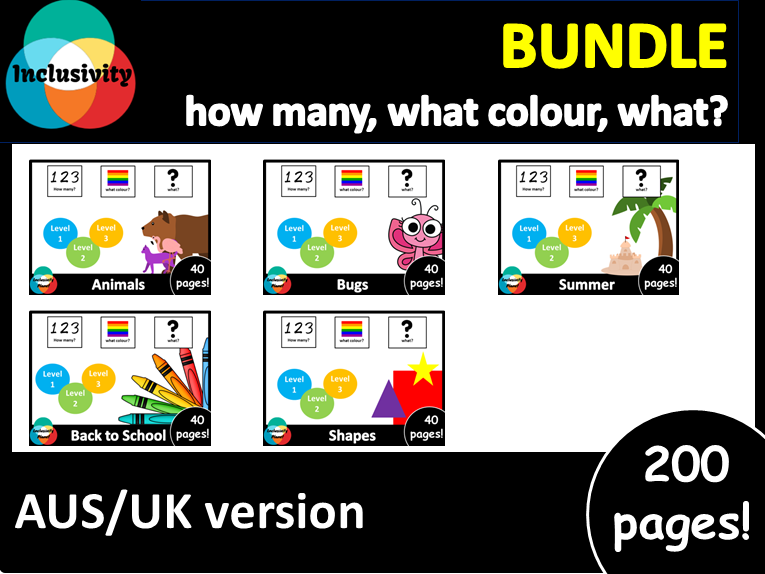 Adapted book AUS/UK version HOW MANY, WHAT COLOUR, WHAT? level 1, level 2 and level 3