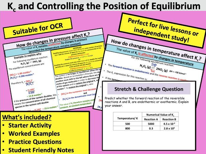 Controlling The Position of Equilibrium (Kc)