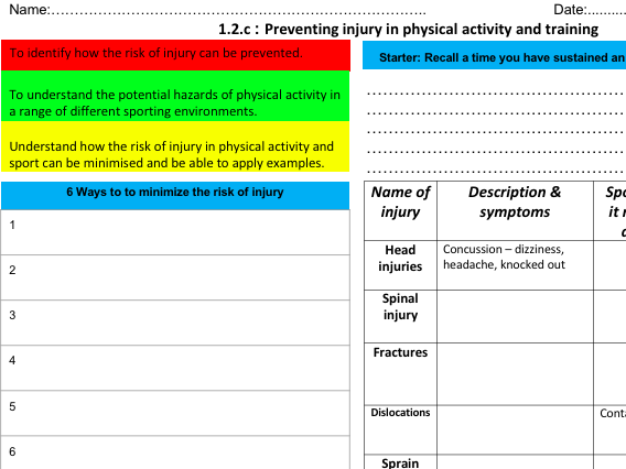 OCR PE from (2016) 1.2c Preventing Injury in Physical Activity Learning Mat & Homework
