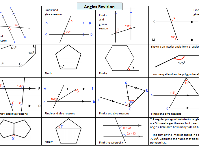 Revision worksheet on Angles in Parallel Lines and Angles in Polygons