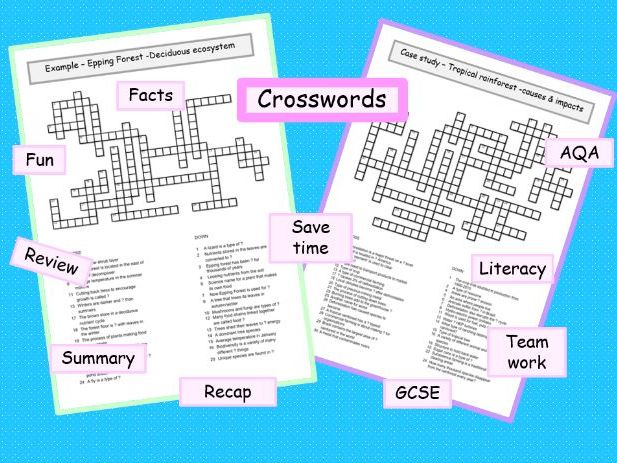 AQA crosswords ecosystems case study Epping Forest  Amazon tropical rainforest GCSE geography ks3 ks