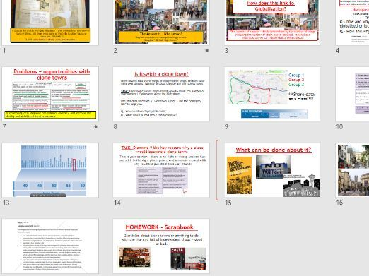 AQA A-LEVEL Changing Places - Clone Towns (Lesson + Resources)
