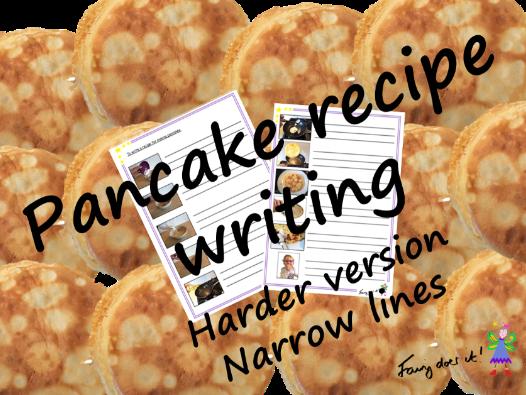 Writing a pancake recipe - harder version with narrow line spacing