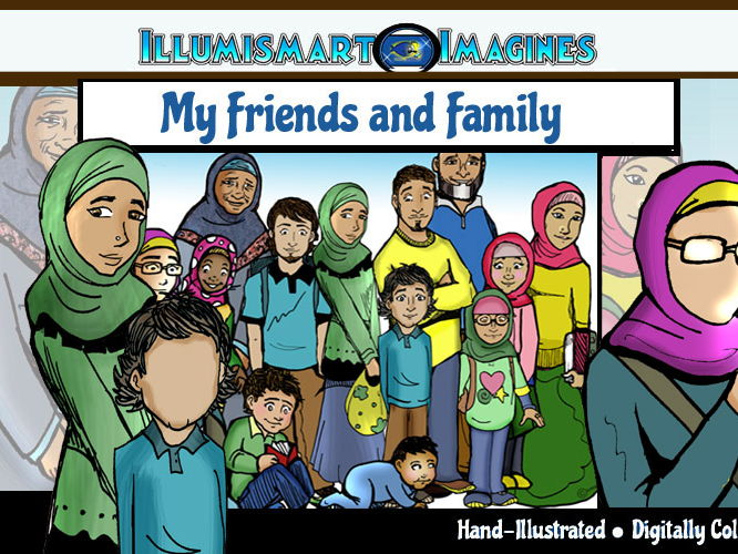 Friends and Family: Muslim CommUNITY 30 pc. ClipArt BW & Color (Includes Faceless Versions!)