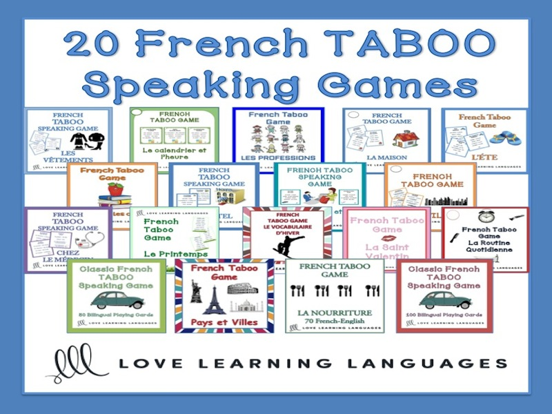 GCSE FRENCH: French Taboo Speaking Games Bundle