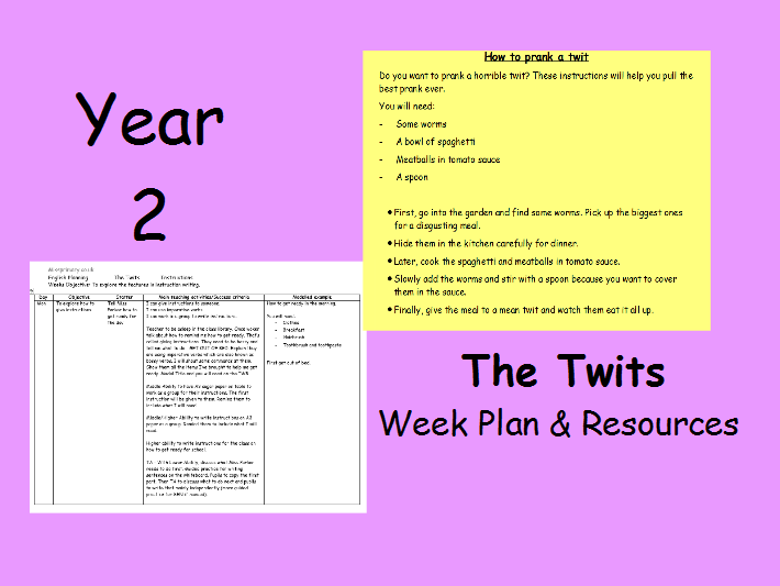 Instruction Writing - The Twits (1 Week of Plans)