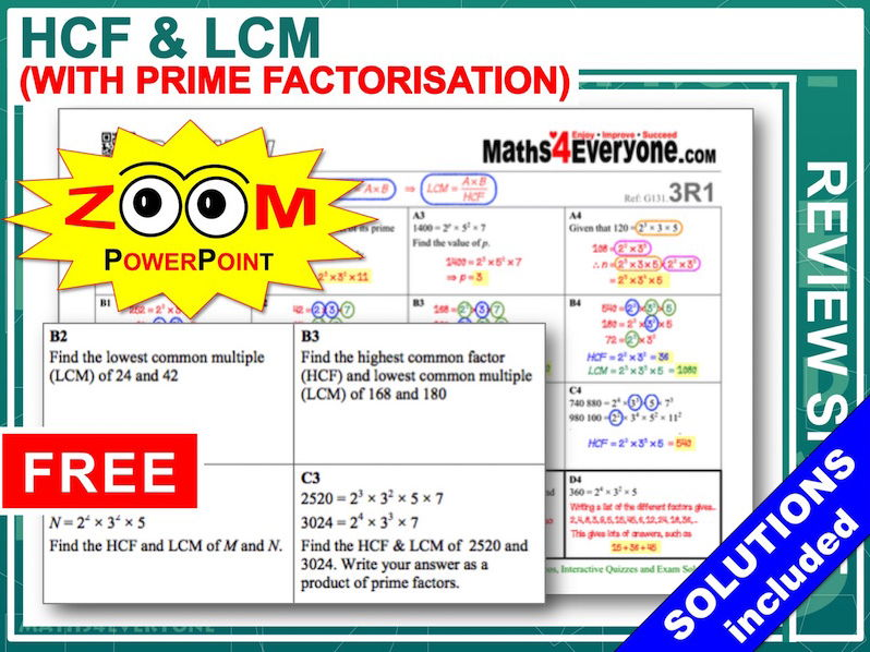 GCSE Revision (HCF and LCM)