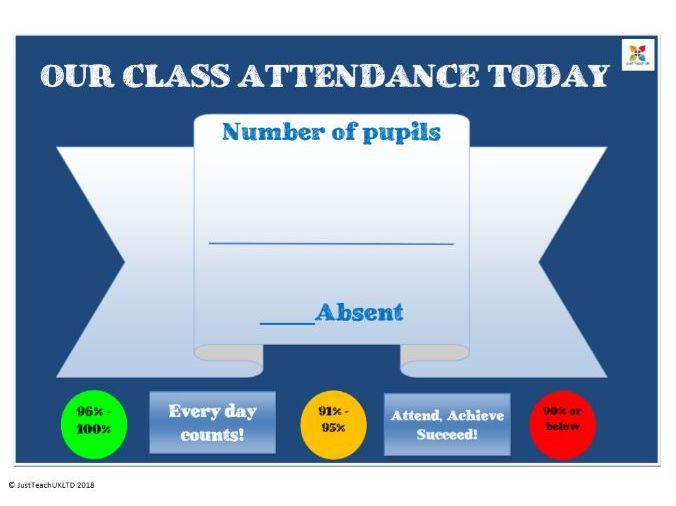 Attendance poster - A handy poster for your classroom to record pupil numbers daily