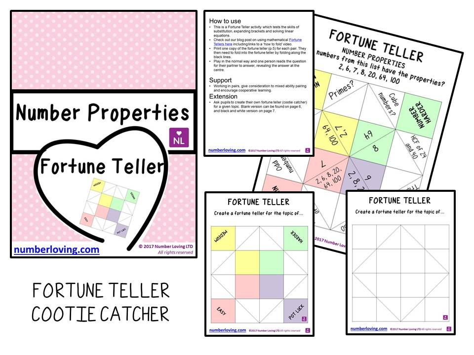 Number Properties (Cootie Catcher)