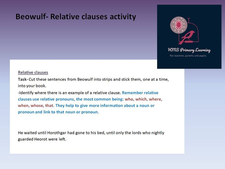 Beowulf relative clause activity