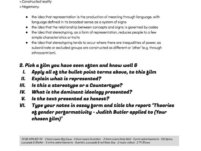 WJEC Media A Level Representation worksheets Butler, Hall, Gilroy, Zoonen & Bell Gender femin