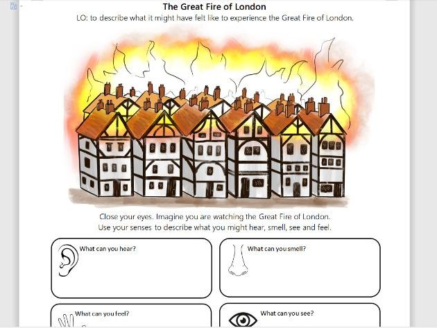 Describing the Great Fire of London three differentiated worksheets KS1