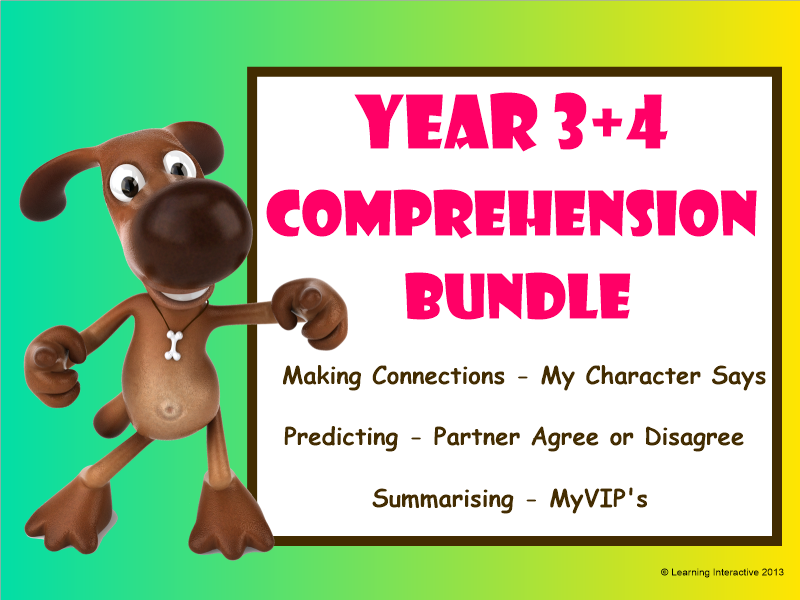Super Six Comprehension Bundle - Making Connections, Predicting, Summarising - Year 3+4